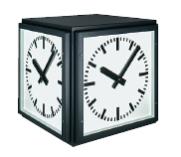 Außenuhr, einseitige Außenuhr, doppelseitige Außenuhr, vierseitige Außenuhr, Würfeluhr, Wanduhr, Deckenuhr, Deckenbefestigung, Mastuhr, Funkuhr, Ballschutz, Beleuchtete Uhr, Nebenuhr