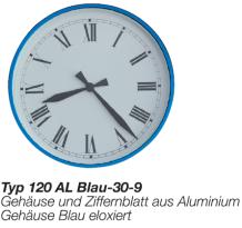 Aluminium Uhr, Alu Uhr, runde Uhr, blaue Uhr, rote Uhr, römisches Zifferblatt, leichte Uhr, leichte Wanduhr