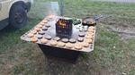 Feuerschale aus Cortenstahl mit Grillplatte, Aufsatz und Grillgut