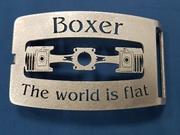 Gürtelschnalle Boxer Motor the world is flat